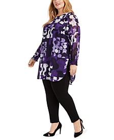 Plus Size Printed Shirred-Cuff Tunic, Created For Macy's