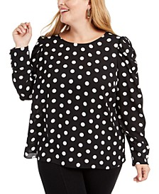Plus Size Polka-Dot Top, Created For Macy's