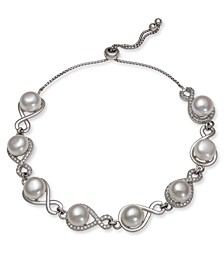 Cultured Freshwater Pearl (7-8 mm) and Cubic Zirconia Infinity Bolo Bracelet in Sterling Silver