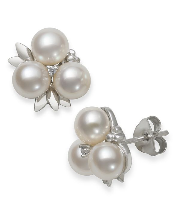 Macy's Cultured Freshwater Pearl (6-7 mm) and Diamond Accent Fruit Stud Earring in Sterling Silver