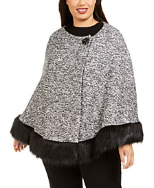 Plus Size Faux-Fur-Trimmed Poncho, Created For Macy's