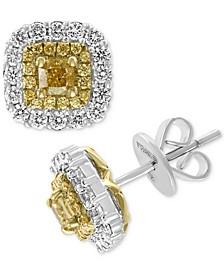 EFFY® HEMATIAN Diamond Halo Stud Earrings (1-1/5 ct. t.w.) in 18k Gold & White Gold