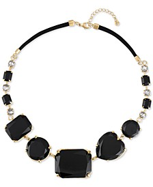 """Gold-Tone Crystal & Stone Heart Collar Necklace, 41"""" + 3"""" extender"""