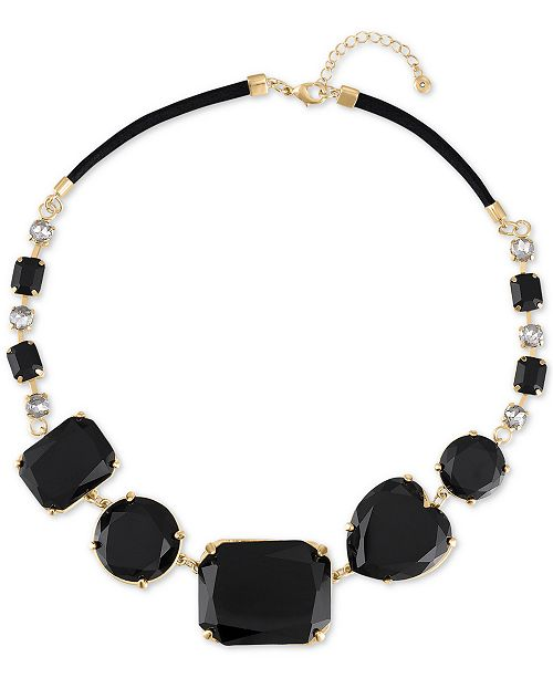 "RACHEL Rachel Roy Gold-Tone Crystal & Stone Heart Collar Necklace, 41"" + 3"" extender"
