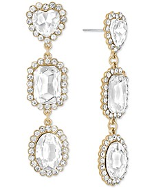 Gold-Tone Crystal Triple Drop Earrings