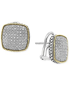 EFFY® Diamond Pavé Cushion Earrings in Sterling Silver & 18k Gold-Plate