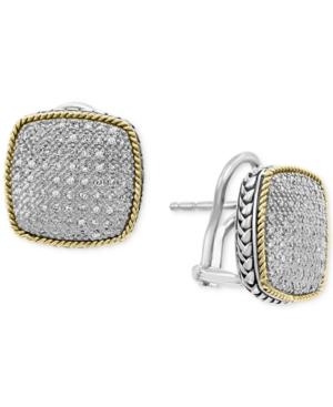 Effy Diamond Pave Cushion Earrings in Sterling Silver & 18k Gold-Plate