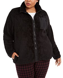 Plus Size Mock-Neck Sherpa Jacket