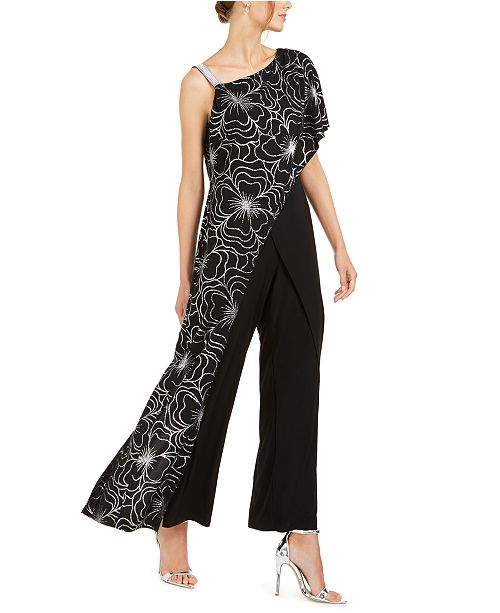 28th & Park One-Shoulder Overlay Jumpsuit, Created For Macy's