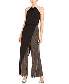 Metallic-Stripe Blouson Walk-Through Jumpsuit