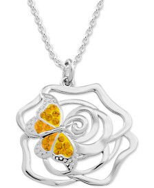"""Moments by Modern Spark Yellow Topaz Crystal Butterfly & Rose 18"""" Pendant Necklace in Fine Silver-Plate"""