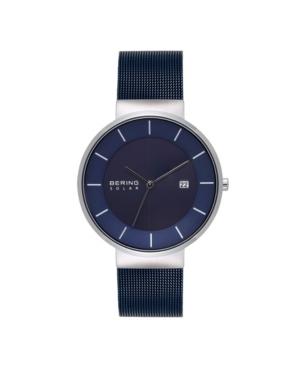 Men's Solar Powered Blue Stainless Steel Mesh Bracelet Watch 39mm