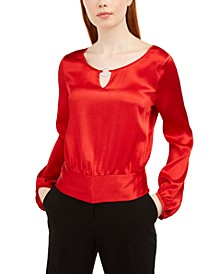 Juniors' Gathered Waist Keyhole Blouse