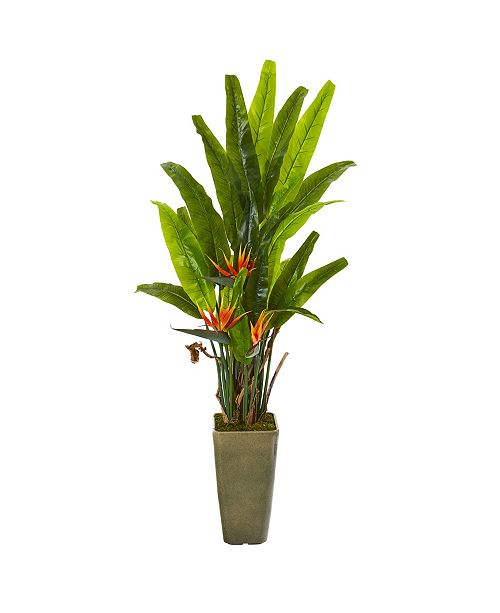 """Nearly Natural 62"""" Bird Of Paradise Artificial Plant in Olive Green Planter"""