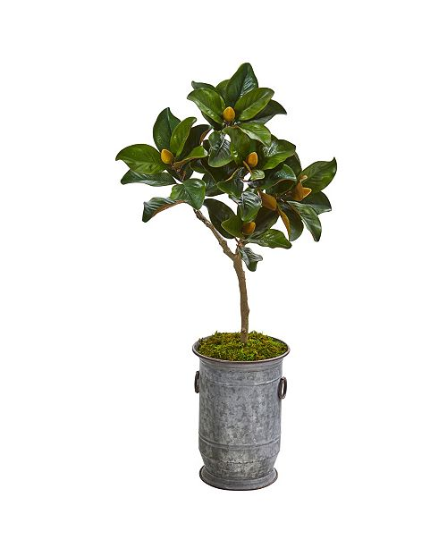 "Nearly Natural 45"" Magnolia Leaf Artificial Tree in Vintage Metal Planter"