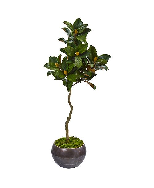 """Nearly Natural 54"""" Magnolia Artificial Tree in Metal Bowl"""