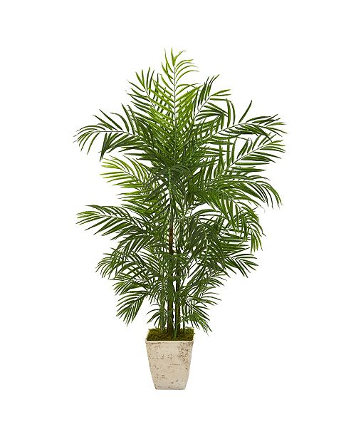 """Nearly Natural 63"""" Areca Artificial Palm Tree in Country White Planter UV Resistant Indoor/Outdoor"""