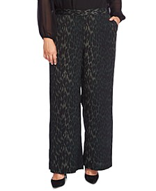 Plus Size Animal-Print Wide-Leg Pants