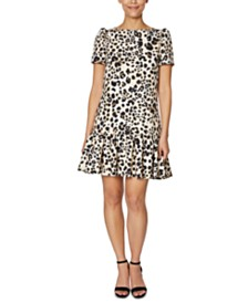 Betsey Johnson Scuba Ruffle-Hem Dress