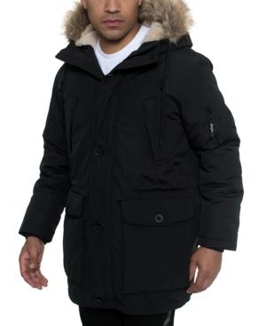 Sean John Men's Faux Fur Trimmed Multi Pocket Parka In Black