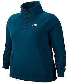 Plus Size Sportswear Essential 1/4-Zip Fleece Top