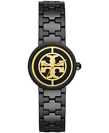 Tory Burch Women's Reva Black-Tone Stainless Steel Bracelet Watch 28mm