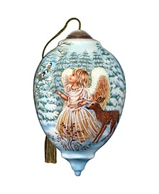 Sweet Christmas Blessings hand painted blown glass Christmas ornament