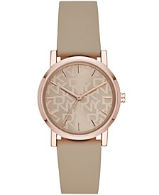 Women's Soho Taupe Faux Leather Strap Watch 34mm