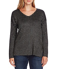 Ribbed Metallic V-Neck Sweater
