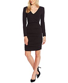Ruched Faux-Wrap Dress