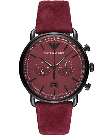 Emporio Armani Men's Chronograph Burgundy Leather Strap Watch 43mm