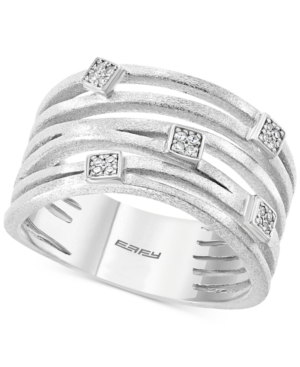 Effy Diamond Multi-Row Statement Ring (1/20 ct. t.w.) in Sterling Silver
