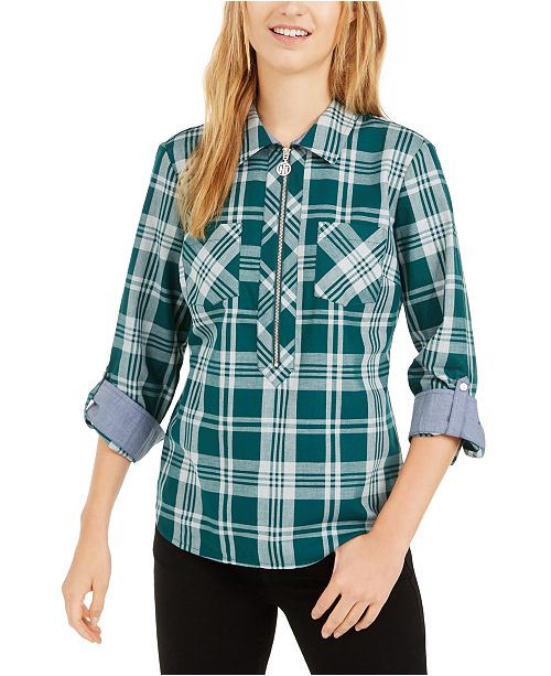 Tommy Hilfiger Popover Plaid Cotton Top, Created For Macy's