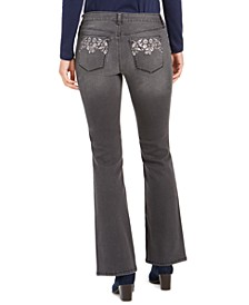 Light Wash Embroidered-Pocket Bootcut Jeans, Created For Macy's
