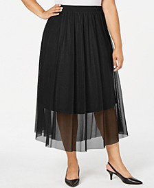 Plus Size Mesh Midi Skirt, Created for Macy's