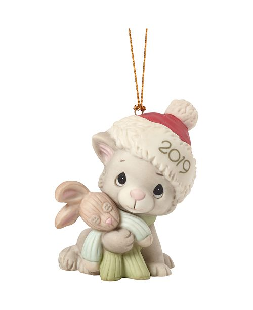 Ne'Qwa Precious Moments Christmas Kitty Cuddles Cat In Santa Claus Hat 2019 Dated Christmas Ornament