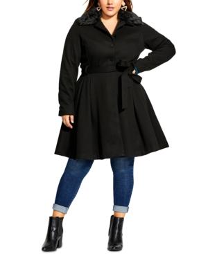City Chic Coats TRENDY PLUS SIZE FAUX-FUR-COLLAR COAT