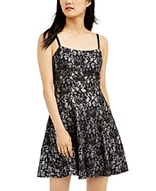 Juniors' Bonded-Lace Ruffle Hem Dress
