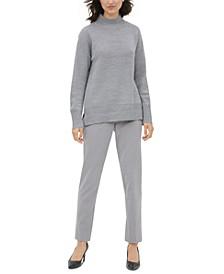 Mock-Neck Drop-Shoulder Sweater