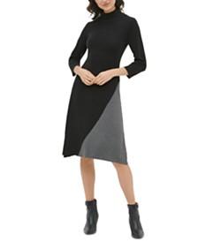 Calvin Klein Colorblocked Mock-Neck Dress