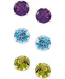 3-Pc. Set Multi-Gemstone Stud Earrings (5-1/2 ct. t.w.) in 10k Gold