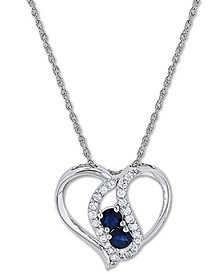 "Blue Sapphire (5/8 ct. t.w.) & White Sapphire (3/8 ct. t.w.) 18"" Pendant Necklace in Sterling Silver"