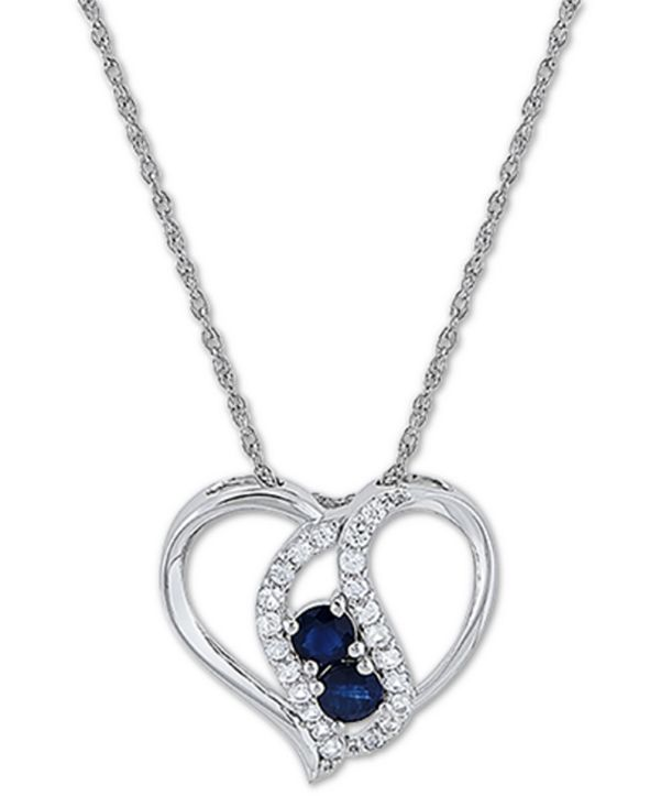 "Macy's Blue Sapphire (5/8 ct. t.w.) & White Sapphire (3/8 ct. t.w.) 18"" Pendant Necklace in Sterling Silver"