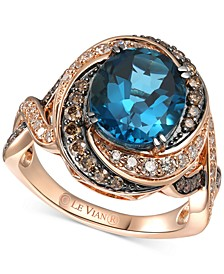 Deep Sea Blue Topaz (3-3/8 ct. t.w.) & Diamond (3/4 ct. t.w.) Ring in 14k Rose Gold
