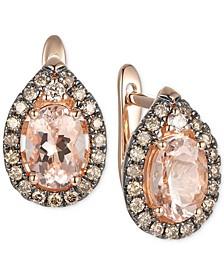 Peach Morganite (1-1/10 ct. t.w.), Nude Diamonds (1/20 ct. t.w.) & Chocolate Diamonds® (1/4 ct. t.w.) Drop Earrings in 14k Rose Gold