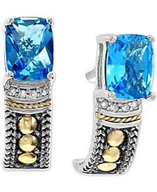 EFFY® Blue Topaz (2 ct. t.w.) & Diamond Accent Stud Earrings in Sterling Silver & 18k Gold