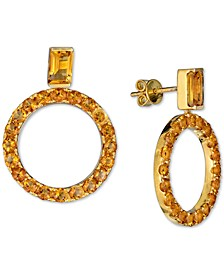 Madeira Citrine (4-3/8 ct. t.w.) Drop Hoop Earrings in 14k Gold-Plated Sterling Silver