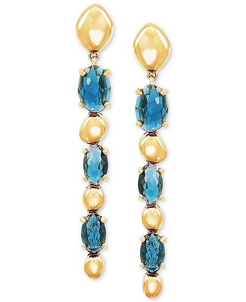 Macy's London Blue Topaz Drop Earrings (2-1/2 ct. t.w.) in 14k Gold