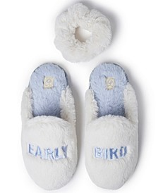 Women's Early Bird Scuff Slipper with Scrunchie, Online Only