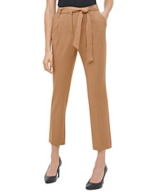 Tie-Belt Straight-Leg Pants